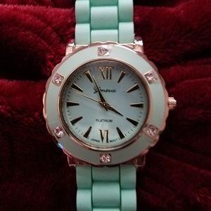 Geneva ~ Mint Silicone & Goldtone Crystals Watch